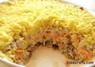 Рецепт грибного салата «Белая ночь»